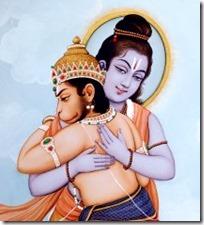[Rama hugging Hanuman]