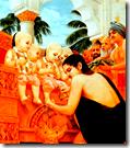 [King Prithu with four Kumaras]