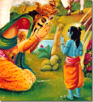 [Indra praying to Krishna]