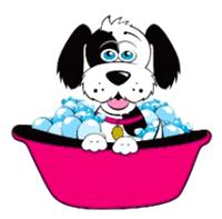 [dog taking bath]