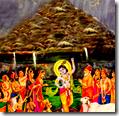 [Krishna lifting Govardhana]