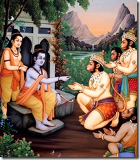 [Rama giving ring to Hanuman]