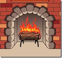 [burning fireplace]