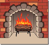 [burning fireplace]