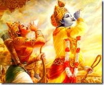[Krishna blowing conch]