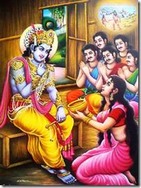 [Krishna eating from Akshaya Patra]