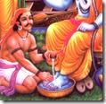 [Kevata washing Rama's lotus feet]