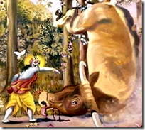 [Krishna throwing bull]