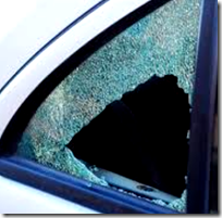 [shattered car window]