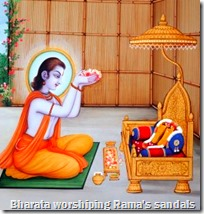 [Bharata worshiping Rama's sandals]
