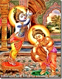[Balarama and Krishna stealing butter]