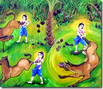 [Balarama dealing with Dhenuka]