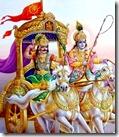 [Krishna and Arjuna on battlefield]