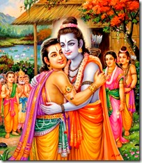 [Rama and Bharata embracing]